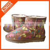 colorfull print ankle snow boots