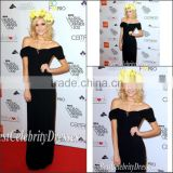 Elegant Off Shoulder Floor Length Black Velvet Evening Dresses