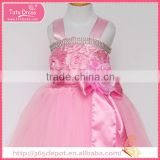 Satin Fabric baby pink rosette prom dress tulle skirt children frocks designs                                                                                                         Supplier's Choice