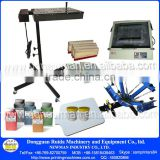 Manual 4 color 1 station table top rotary silk screen printing machine with some printing materials for flat items