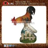 resin garden decorative rooster on planter with welcome board statue