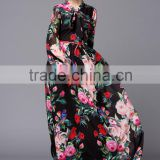 rose all over printed floor length long sleeve chiffon maxi dress new style