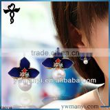 2014 new fashion ladies stud designs k gold pearl ename stylish young leafs girls earrings in zinc alloy jewelry E00116