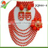 2016 JQ044 african beaded pearl necklace jewelry sets india jewelry set earing ring bracelet