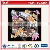Supplier of many airlines satin printed stewardess scarf