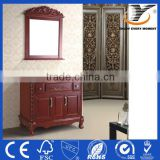 Standing Solid Wood Classic Bathroom Furniture Laundry Equipment With Natural Marble Countertop