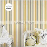2016 printing vinyl wallpaper, apricot yellow contemporary pinstripe wall sticker for apartment , decoration wallpaper warehouse