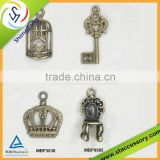 Wholesale crown charms, key charms for crafts, bulk birdcage charms