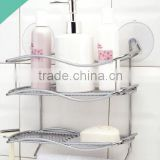 Suction cup boltless wall mounted bathroom shampoo soap wire metal storage rack