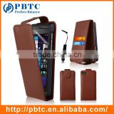 Set Screen Protector Stylus And Case For Blackberry Z10 , Brown Leather Mobile Phone Case Wallet