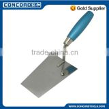 Bricklaying trowel with silver blue wooden handle, stainless steel blade