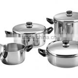8pcs set 555 stainless steel stock pot/hot pot for plastic handle