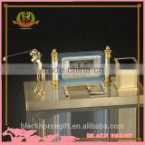 golf clock pen holder metal gold promotional gift and pen holder trophy