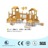 Medium size wooden house slide set playground equipment                                                                         Quality Choice