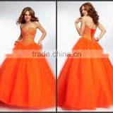 Glorious Sweetheart Tulle Corset Back Beaded Orange Red Quinceanera Dresses 2015 HAQ-005