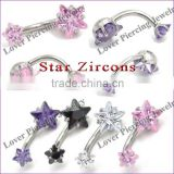High Polish With Double Star Zircon Top Design Stainless Steel Navel Belly Ring [SS-E867]