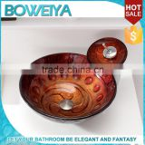 HOT Sale online !! Luxurious Style Rustic Bronze Tempered Glass Round Lavabo Carved Pictures Wash Basin