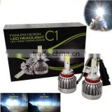 Super bright! 2PCS auto car COB H4 H/L replacement LED headlight kit bulb H4 Hi Lo beam 30W 3000lm 6000K 12V 24V xenon white