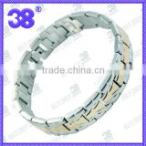 OEM 7.5-10inch 3000 guass magnetic germanium powder negative ion SILVER bracelet fashion couple bracelets