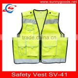 Korea design yellow/black mesh polyester high visibility safety vest with pockets