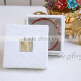 Latest design Lace fabric jewelry box bracelet box with beaded name plate of M