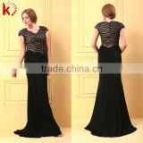 Hot Sale Nice Beading Sequins Cap Sleeve High Tall Sex Prom Dress With Cap Sleeves