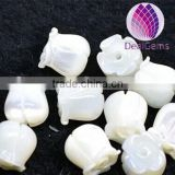 7mm white shell flower beads