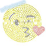Hottest Sell Lovely Emoji smile face Rhinestone Iron-on Rhinestone Transfer Wholesaler #6