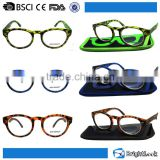 New trendy plastic fashion rhinestone custom pattern cat eye reading glasses for women with pouch