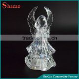 Led Flashing Acrylic Clear Plastic Angel Figurine With Wings Charms Christmas Ornaments