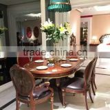Royal Style Gilt Carved Wooden Dinning Room Furniture Noble Castle Dining Room Wooden Oval Table With Six Chairs