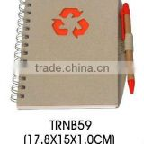 2014 most popular ECO friendly Recycled spiral paper notepad with recycled pen