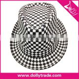 white and black Plaid Cheap Fedora Hats For Men