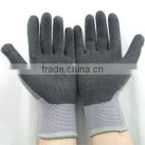 13Gauge Seamless nylon liner gloves, textured natural rubber palm coated/crinkled latex glove/latex dipped glove
