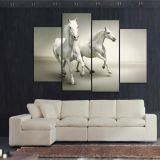 Large Wall Art 4 Panel White Running Horse Canvas Oil Painting Printed for Living Room Wall Decoration