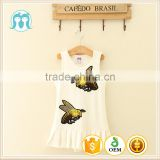 Fashion summer kids party dresses white baby clothing baby frock with embroidery pictures of girls without dress