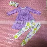 2017 spring new style clothes purple dots dress with balloon fabric leggings girls kids outfits
