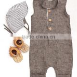 Button-up Linen Baby Boy Romper Summer Toddler Clothing Trendy Baby Clothes Modern Designs