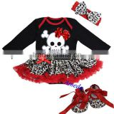 Baby Xmas Black Red Leopard Pirate Skull Long Sleeves Bodysuit Jumpsuit Pettiskirt Headband Crib Shoes NB-18M