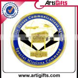 Custom metal enamel golden souvenir coin