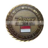 Army Force Custom Challenge Coin Antique Brass Medal Coin