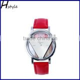 New Design Unisex Unique Hollowed-Out Triangular Dial Leather Band Quartz Wrist Watch Red WP021