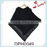 2015Black acryclic pullover crochet knit poncho, knitting pattern poncho scarf for wholesale