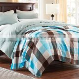 Best selling bright colour summer home use breathable cotton gauze plaid reactive printed towelling coverlet
