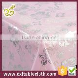 purple clear pvc with flower Iron silver transparent table cloth durable and eco