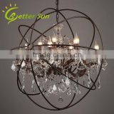 Middle Size Rustic Iron Orb Caged Crystal Chandelier                                                                         Quality Choice