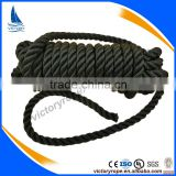 2016 hot sale nylon polyester black 3 strand twisted fiber rope cord
