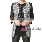 2016 Fashion high quality ladies zebra stripe PU leaher suit women sexy business PU coat