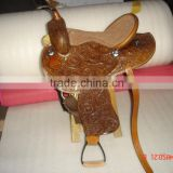 Leather hand carved horse western saddle