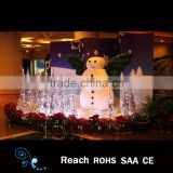 Christmas scene decoration of shopping mall project with snowman ,Artificial Flower ,lighted trees indoor decoration